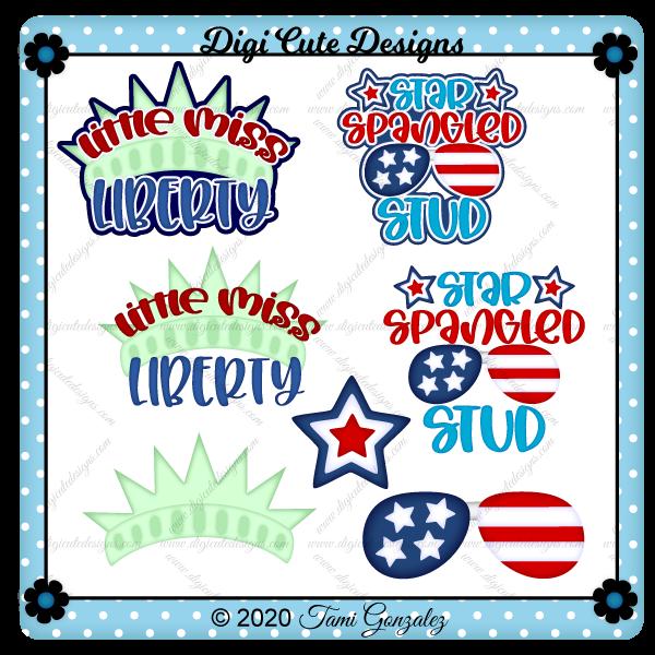 Boy & Girl Patriotic Titles Clip Art