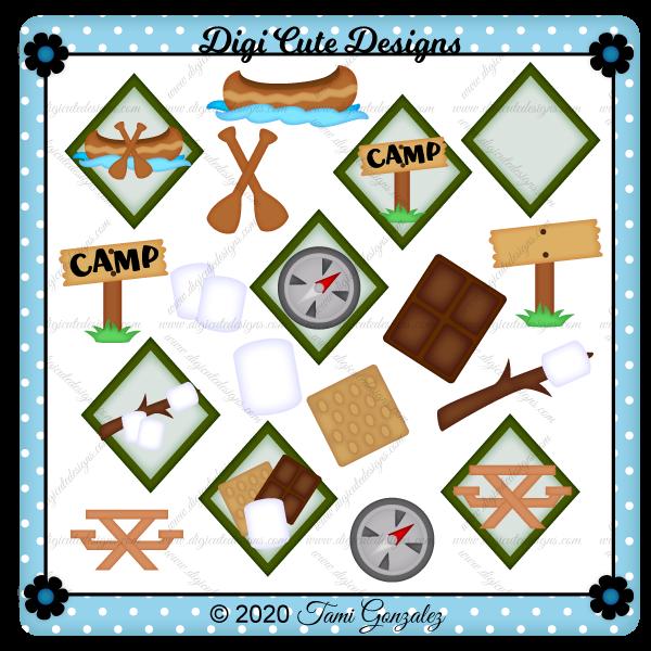 Camping Tokens 1 Clip Art