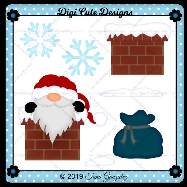 Chimney Santa Gnome Clip Art