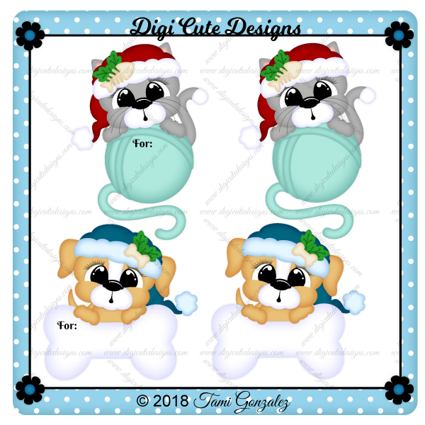 Christmas Pet Tags Clip Art