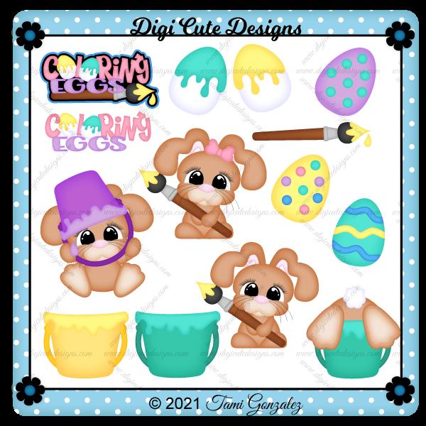Coloring Eggs Clip Art