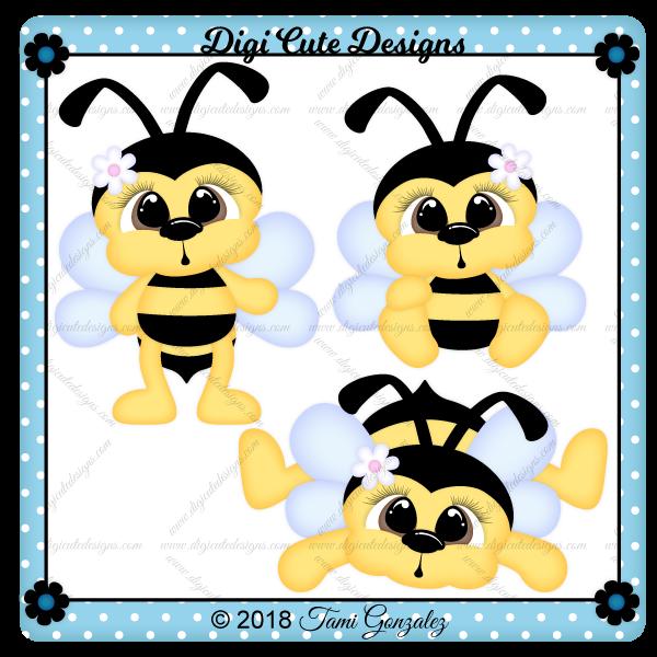 CuddleBug Bees Clip Art
