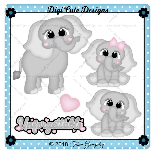 Cute Elephants Clip Art