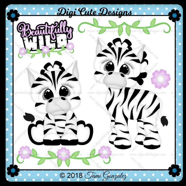 Cute Zebras Clip Art