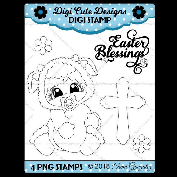 Easter Baby Lamb Digi Stamp
