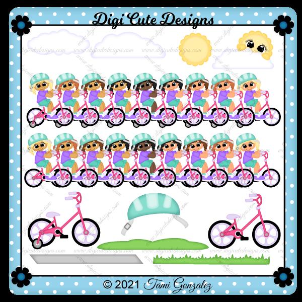Girl Riding Bike Clip Art