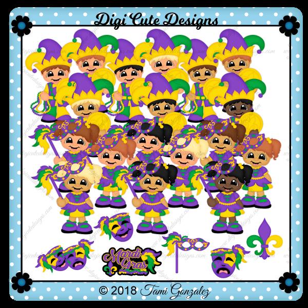 Mardi Gras Cuties Clip Art