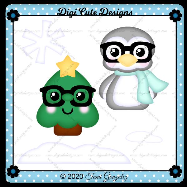 Nerdies Tree & Penguin Clip Art