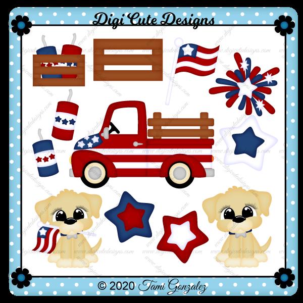 Patriotic Truck Clip Art