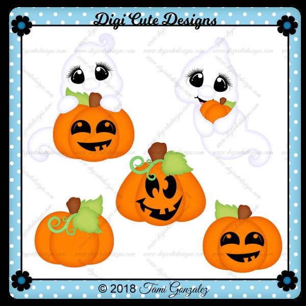 Pumpkin Patch Ghosts Clip Art