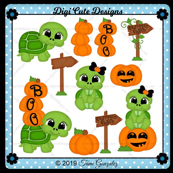 Pumpkin Patch Turtles Clip Art