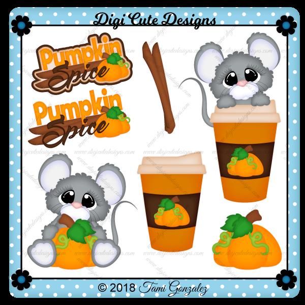 Pumpkin Spice Mice Clip Art