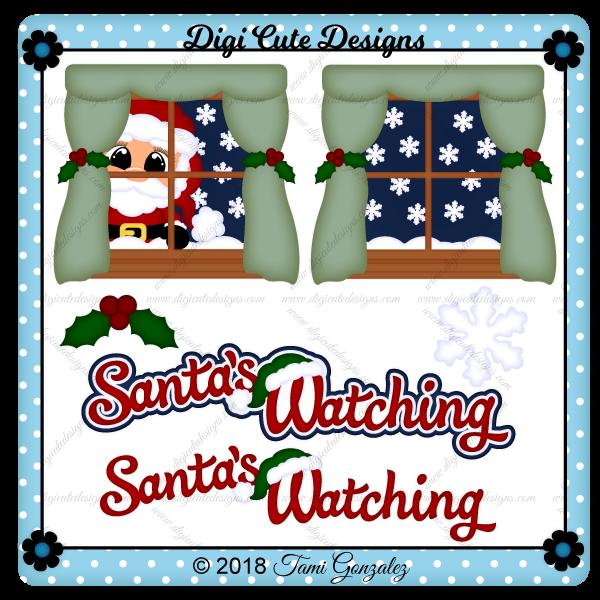 Santa's Watching Clip Art