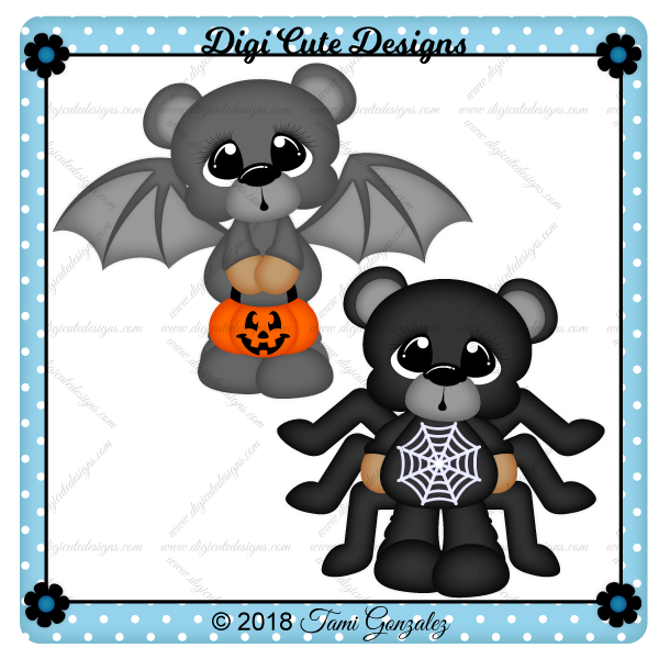 Scare Bears - Bat & Spider Clip Art