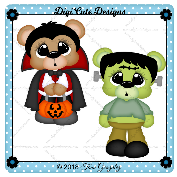 Scare Bears - Vampire & Frankenstein Clip Art