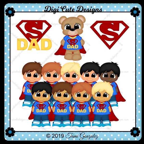 Super Dad - Boy & Bear Clip Art