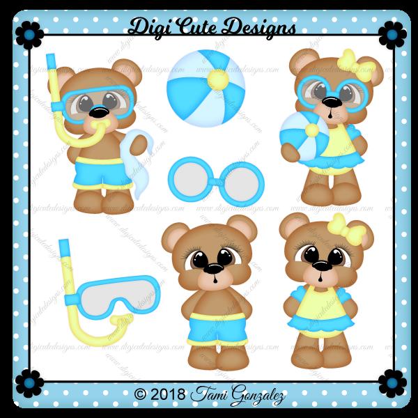 Swim Bears Clip Art