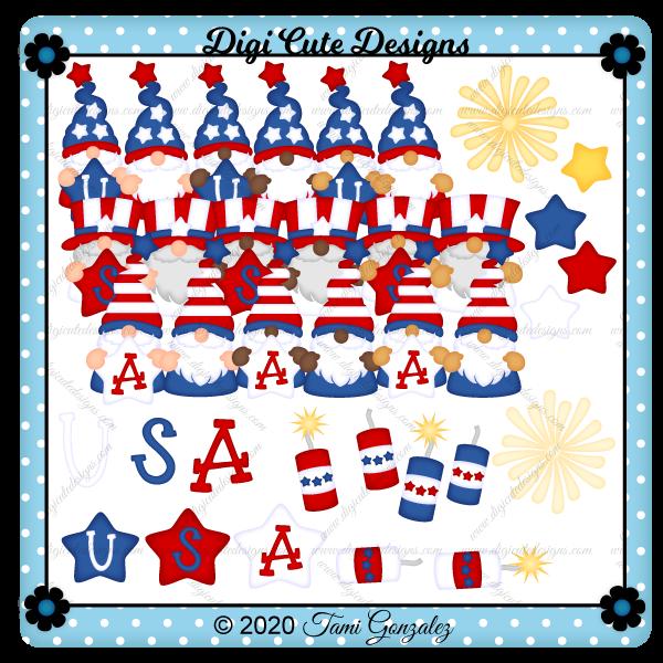 USA Gnomes Clip Art