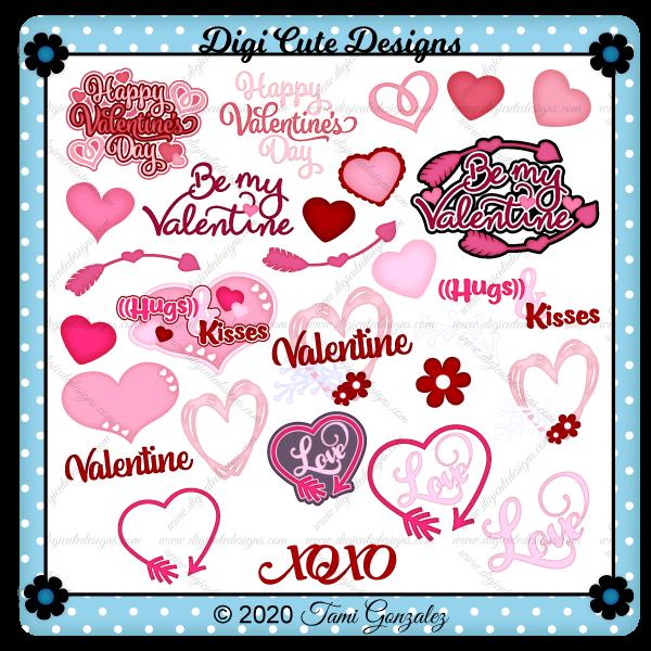 Valentine Titles - Set 1 Clip Art