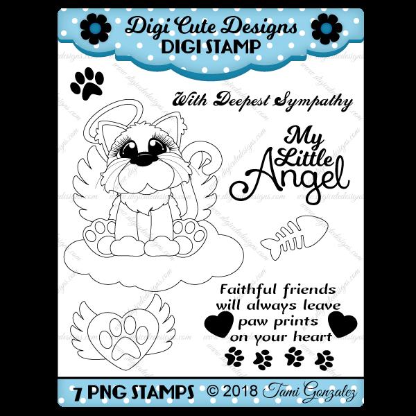 Angel Cat Digi Stamp-cat, fish bone, heart, wings, paw print, halo, cloud