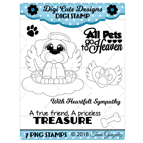 Angel Dog Digi Stamp-dog, puppy, cloud, halo, heart, bone, wings, paw print