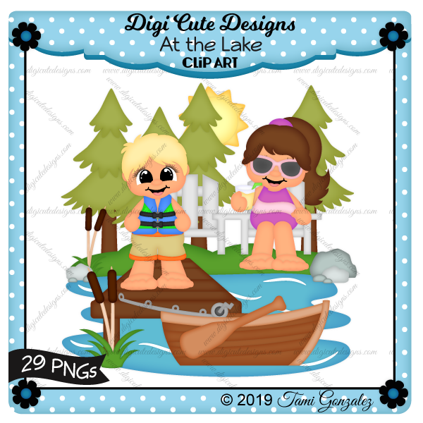At the Lake Clip Art-lake, water, boat, fishing pole, chair, bench, lawn chair, lemonade, sun, tree, rocks, dock, cattails, boy, girl, sunglasses, life vest