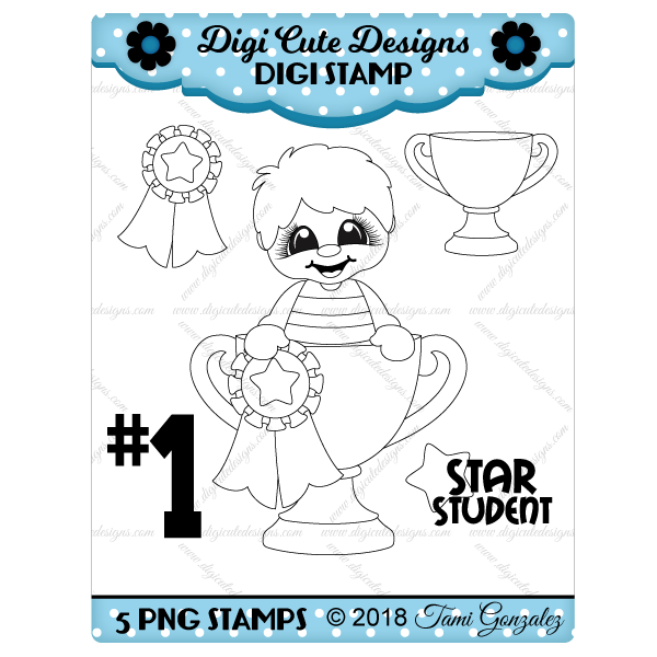Awards Boy Digi Stamp-school, trophy, star, ribbon