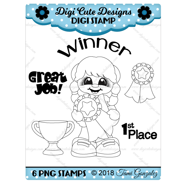 Awards Girl Digi Stamp-school, trophy, ribbon, star
