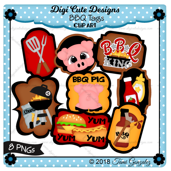 BBQ Tags Clip Art-Summer, cookout, grill, BBQ, pig, hamburger, hotdog, ketchup, mustard