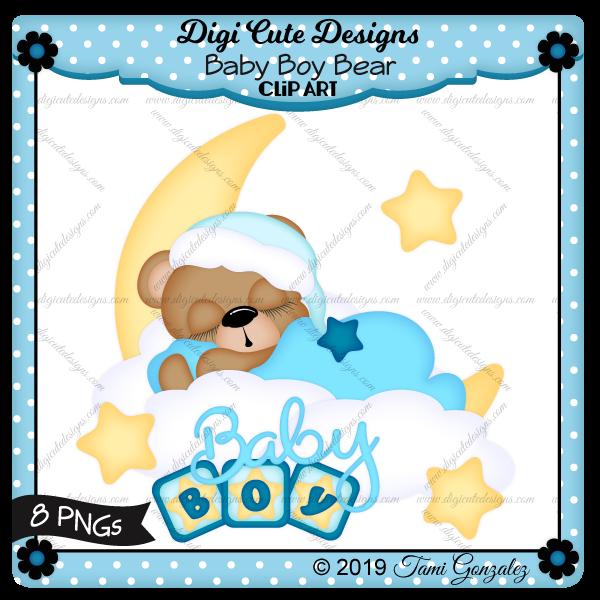 Baby Boy Bear Clip Art-moon, star, cloud, sleeping, boy, baby, block