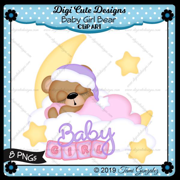 Baby Girl Bear Clip Art-star, moon, cloud, sleeping, girl, baby, block