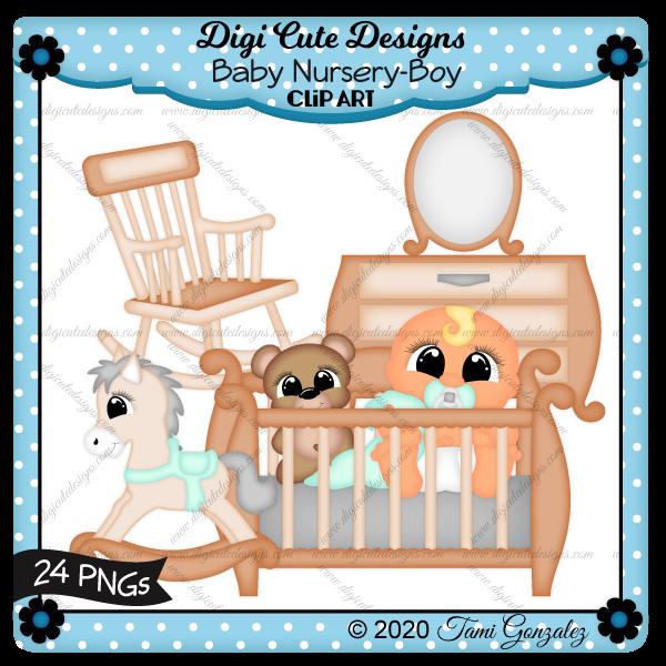 Baby Nursery-Boy Clip Art-baby, crib, rocking chair, rocker, rocking horse, dresser, mirror, teddy bear, blanket, pacifier, nook