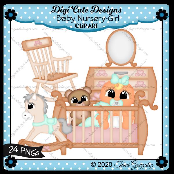 Baby Nursery-Girl Clip Art-baby, crib, dresser, rocker, rocking chair, rocking horse, teddy bear, blanket, pacifier, nook, mirror