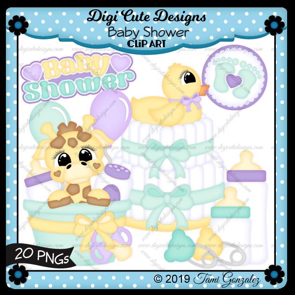 Baby Shower Clip Art-baby, diaper, cake, safety pin, basket, bin, bucket, giraffe, duck, bow, bottle, baby powder, balloons, heart, feet, footprints, pacifier, nuk, nook, binkie
