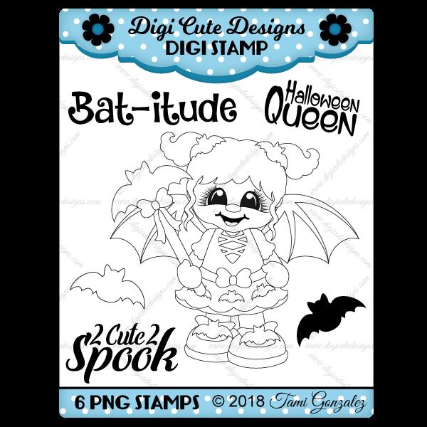 Bat Girl Digi Stamp-batwoman, bats, comic, Halloween