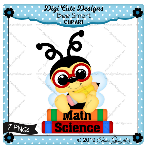Bee Smart Clip Art-bee, school, pencil, books, math, science, glasses