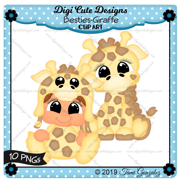 Besties - Giraffe Clip Art-giraffe, boy, girl