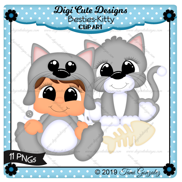 Besties - Kitty Clip Art-cat, kitty, fish bone, boy, girl