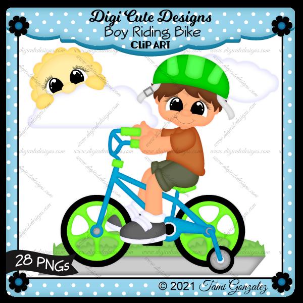 Boy Riding Bike Clip Art-sidewalk, grass, sun, clouds, helmet, bicycle, training wheels