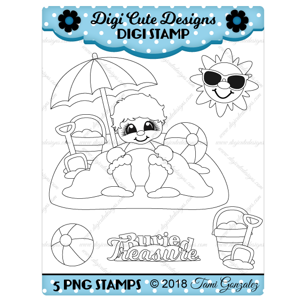 Buried Treasure Boy Digi Stamp-summer, sand, beach, shovel, pail, beach ball, sun, sunglasses, umbrella