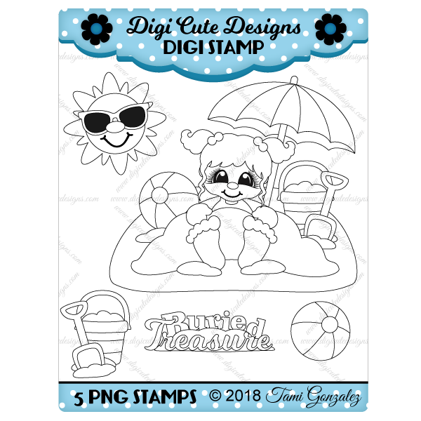 Buried Treasure Girl Digi Stamp-beach, sand, sun, sunglasses, shovel, pail, beach ball, summer, umbrella