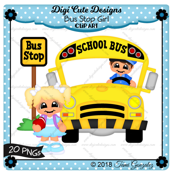 Bus Stop Girl Clip Art-school, bus, bus driver, apple, backpack