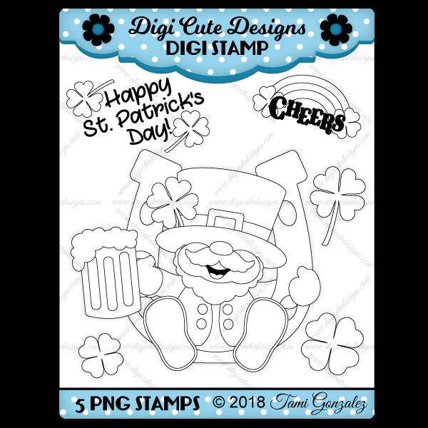 Cheerful Leprechaun Digi Stamp-leprechaun, clover, rainbow, beer, mug, shamrock, horseshoe, st patricks day