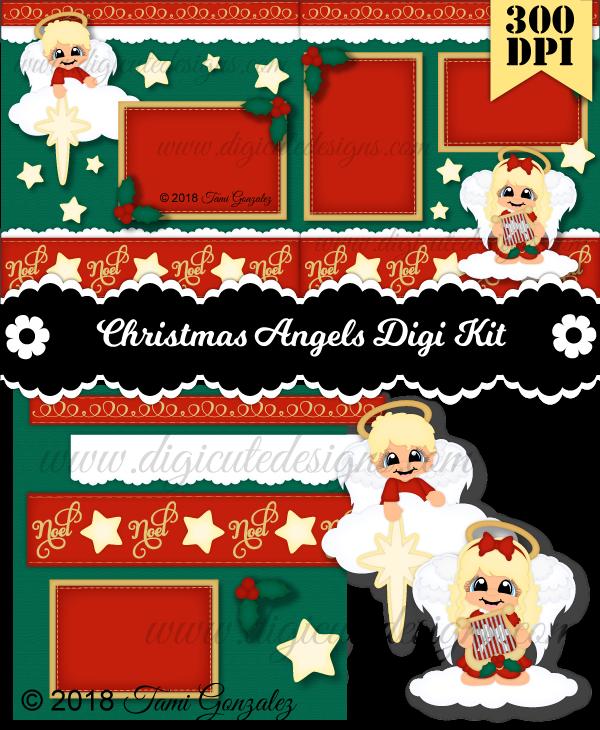 Christmas Angels DSK-Christmas, angel, cloud, harp, star