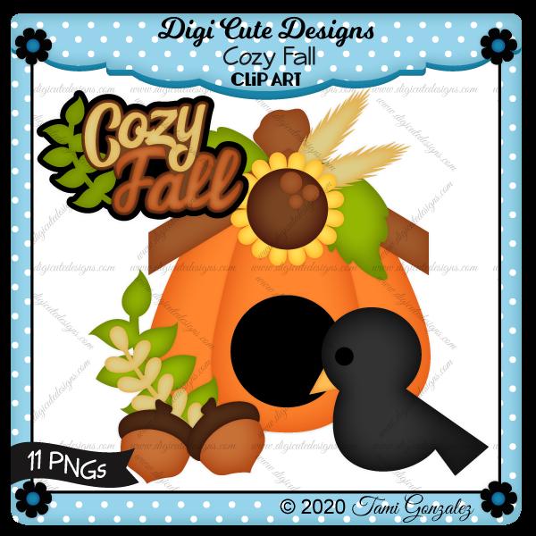 Cozy Fall Clip Art-Autumn, bird, pumpkin, sunflower, acorn