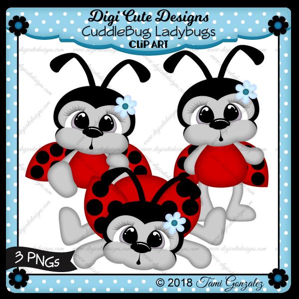 CuddleBug Ladybugs Clip Art-ladybug, flower, spring