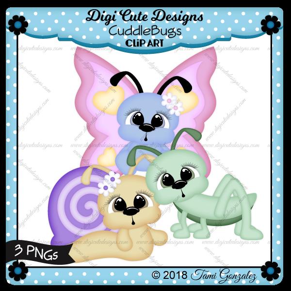 CuddleBugs Clip Art-bugs, butterfly, grasshopper, snail, spring, flower