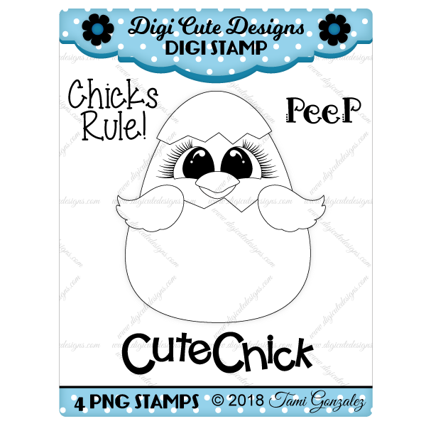 Cute Chick Digi Stamp-Easter, chick, egg