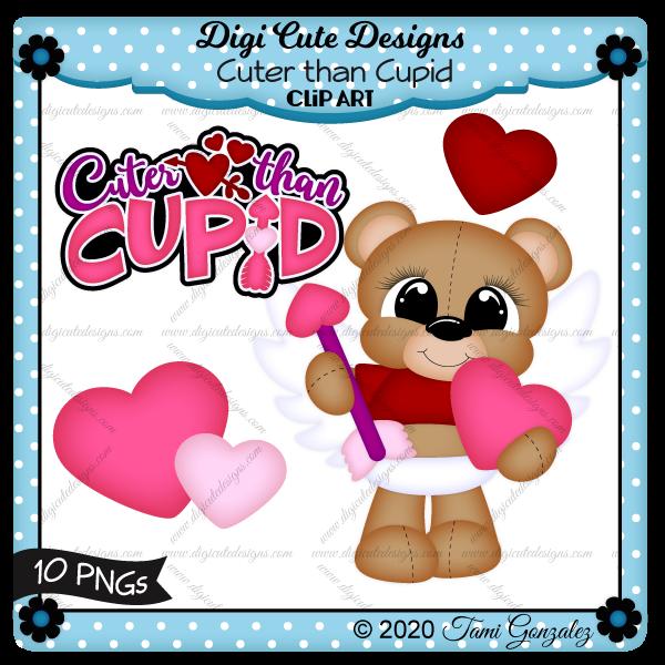 Cuter Than Cupid Clip Art-Valentines Day, love, heart, arrow, bear