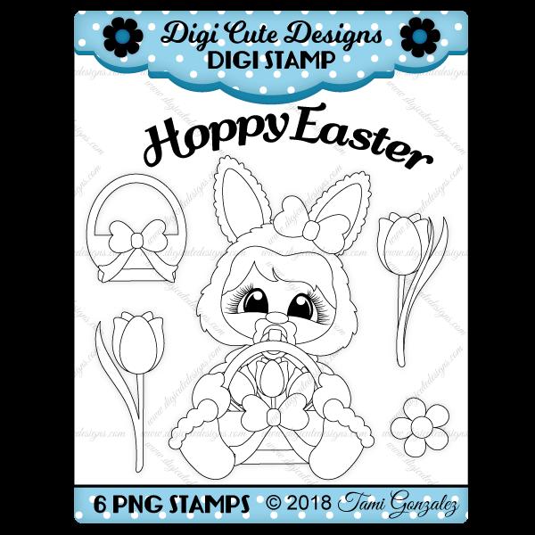 Easter Baby Bunny Digi Stamp-Easter, bunny, flower, tulip, basket, baby